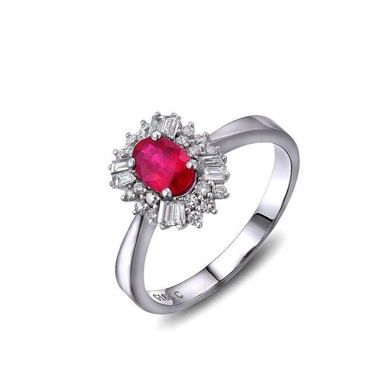 Anello di fidanzamento rubino, diamanti e oro bianco