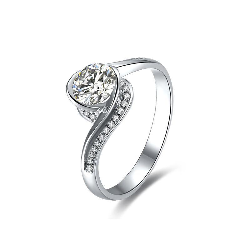 Diamante 0.57ct su anello solitario in oro bianco - Baudelaire