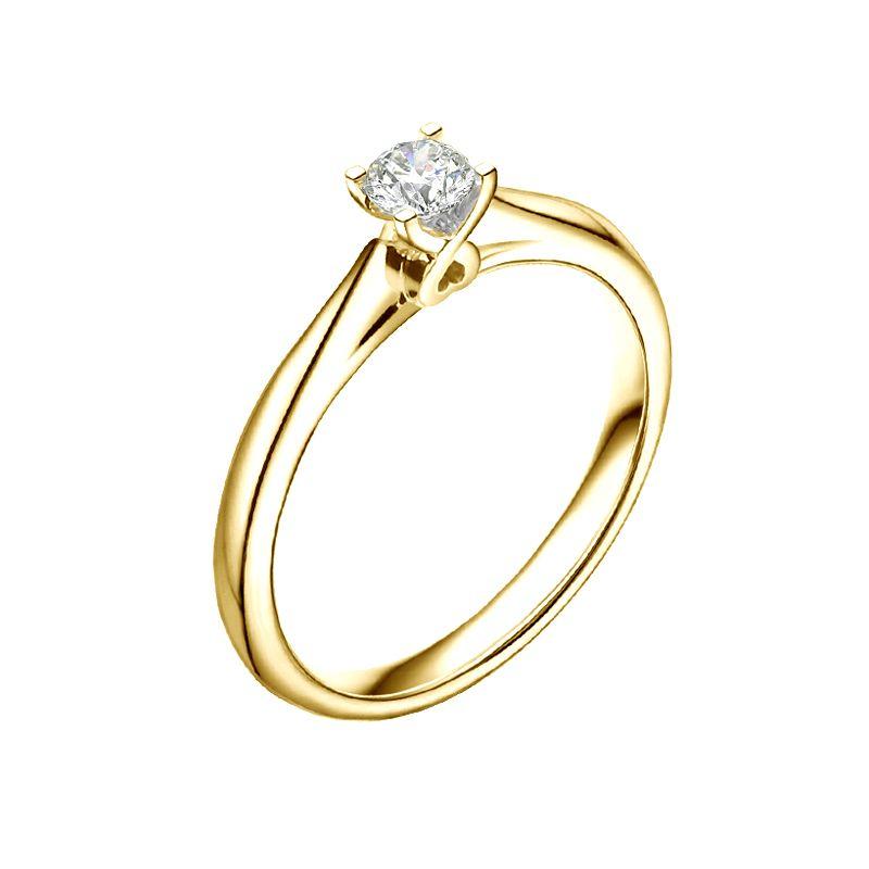 Anello Cuore solitario Donna - Oro giallo - Diamanti 0.190ct