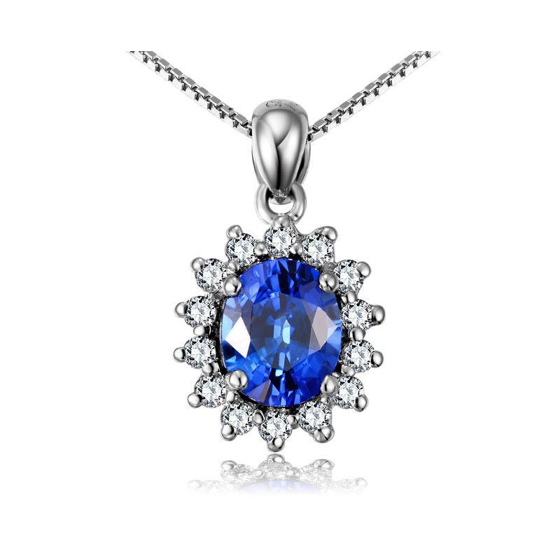 Corona diamantata in oro 18 carati - Ciondolo con Zaffiro